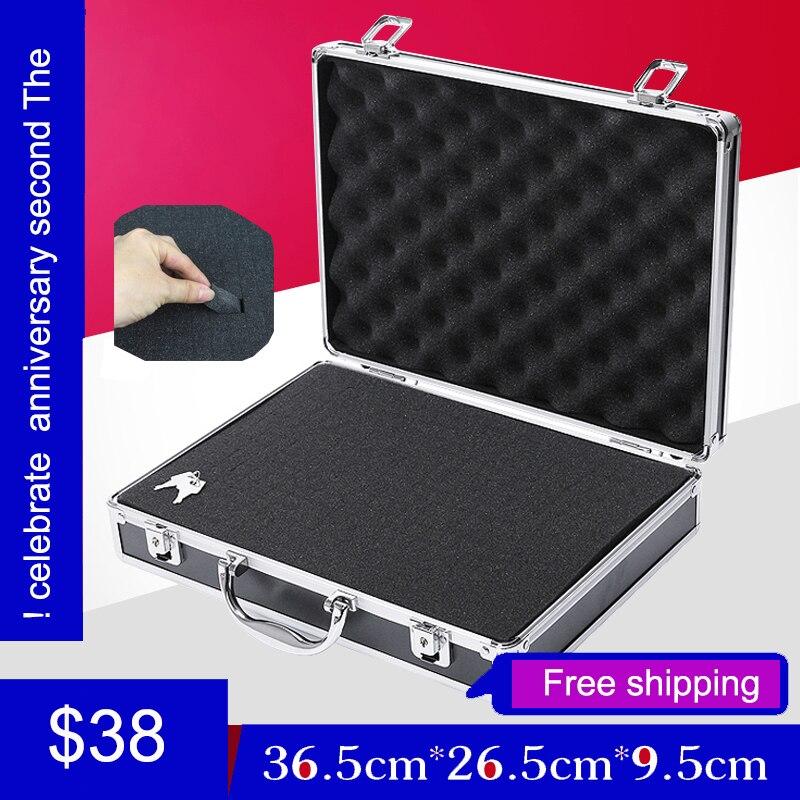 Купить с кэшбэком high quality aluminium tool case toolbox file storage Hard carry tool box Hand Gun Locking Pistol with foam lining 345*245*75MM