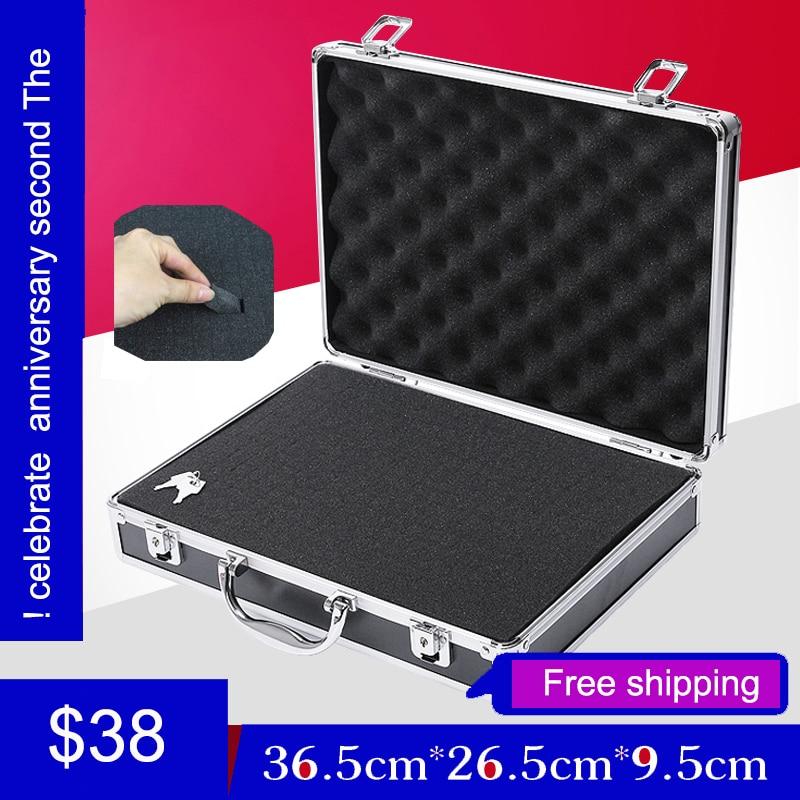 все цены на high quality aluminium tool case toolbox file storage Hard carry tool box Hand Gun Locking Pistol with foam lining 345*245*75MM онлайн