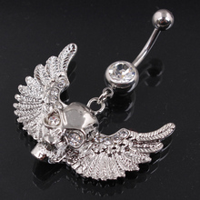 Hot Skeleton With Angel wings Belly Button Rings font b Women b font Body Jewelry Navel
