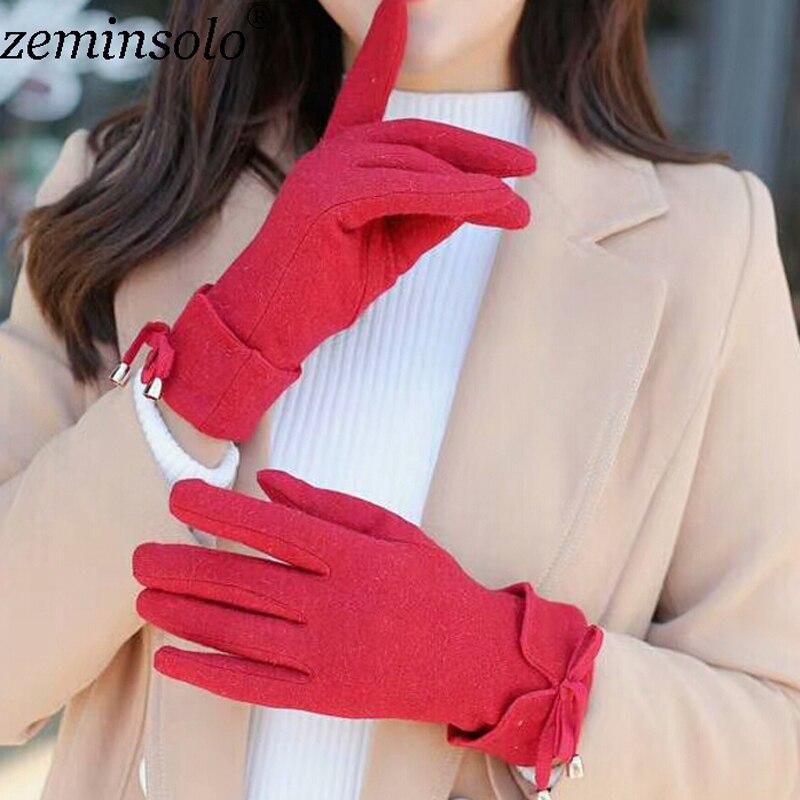 1 par mode vacker flicka båge läderhandskar för pekskärm vinter varma handskläder handskar vuxna kvinnor handskar kvinnliga handskar