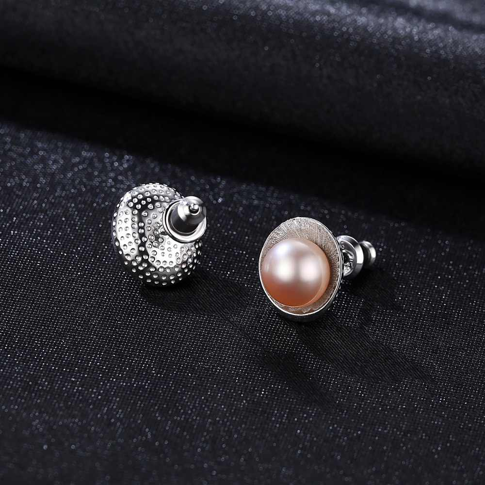 PAG & MAG Baru Kedatangan Cameo Shell Bentuk Merah Muda Mutiara Stud Anting-Anting untuk Wanita Desain Unik Hot Jual Fashion perhiasan Wanita