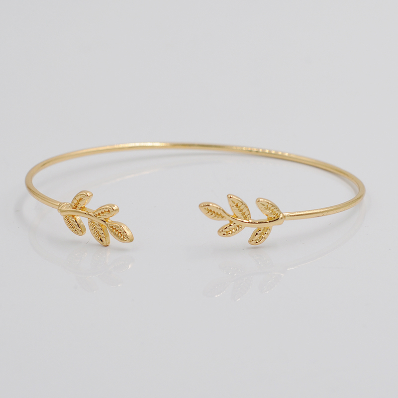 3pcs Leaves Open Bangle Gold Silver Color Leaf Bracelets Bangles For Men Women Thin Bracelet Whole Jewelry In From