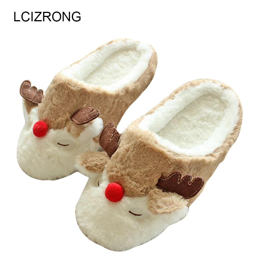 Ženske Indoor Reindeer Copati Ljubitelji Bombaž Domači copati Tlo Plišasti pokriti čevlji Moški Pantoufle Cartoon Style