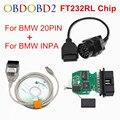 Новинка для BMW INPA K can inpa FT232RL чип k dcan USB OBD2 интерфейс INPA Ediabas для BMW с 20PIN до 16PIN Лучшая Скидка