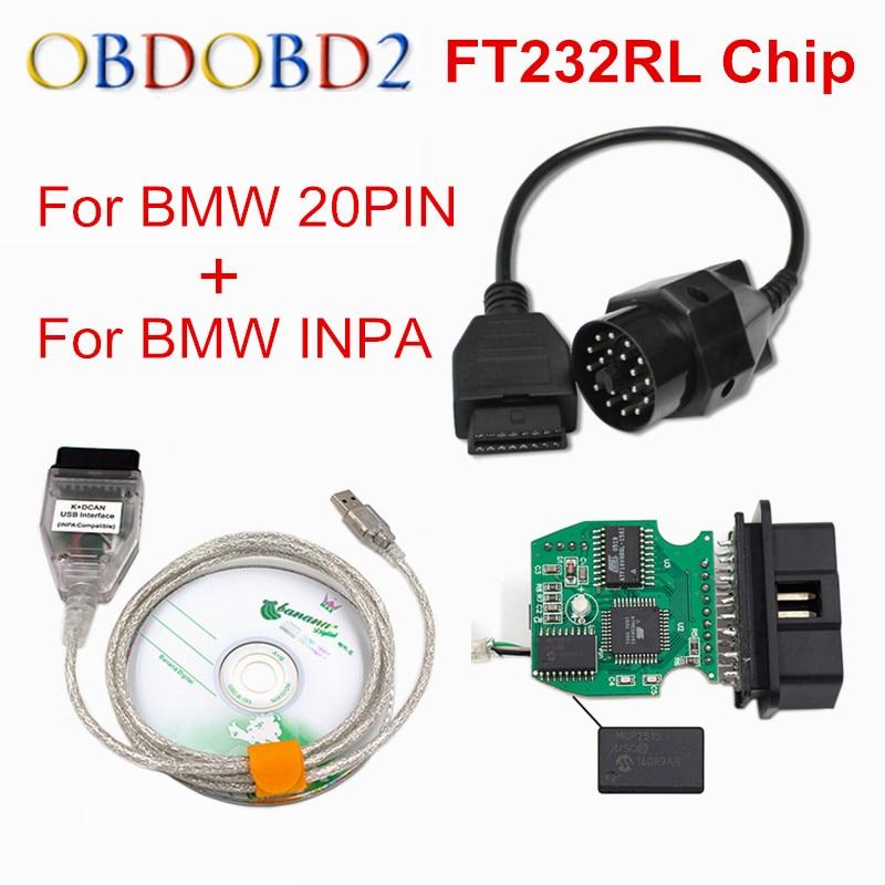 Nouveau Pour BMW INPA K peut inpa FT232RL Puce k dcan USB OBD2 Interface INPA Ediabas pour BMW avec 20PIN à 16PIN Meilleur Escompte