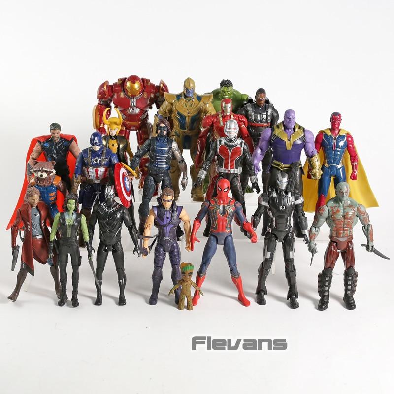 Avengers Thanos Iron Man Captain America Hulkbuster Thor Loki Hulk Ant-homme Vision Étoiles-seigneur PVC figurines d'action Jouets 21 pièces/ensemble