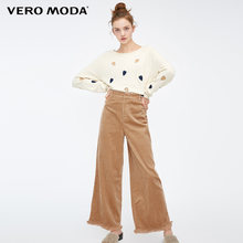 Vero Moda 2019 New Women's National Style Leisure Raw-edge Cuffs High Waist Wide Leg Casual Cropped Pants | 318450508(China)