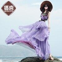 Webcasts 2015 Summer Female Purple Chiffon Spaghetti Strap One Piece Dress Expansion Bottom Full Dress