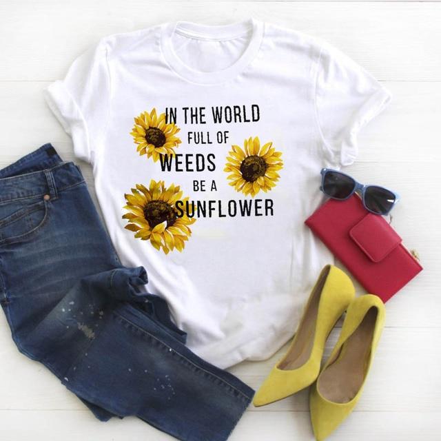 Women Shirt Womens Cartoon Sunflowers Letter Tshirt Tees Graphic Top Printed Ladies Clothes Kawaii Short Sleeve Female T-shirt