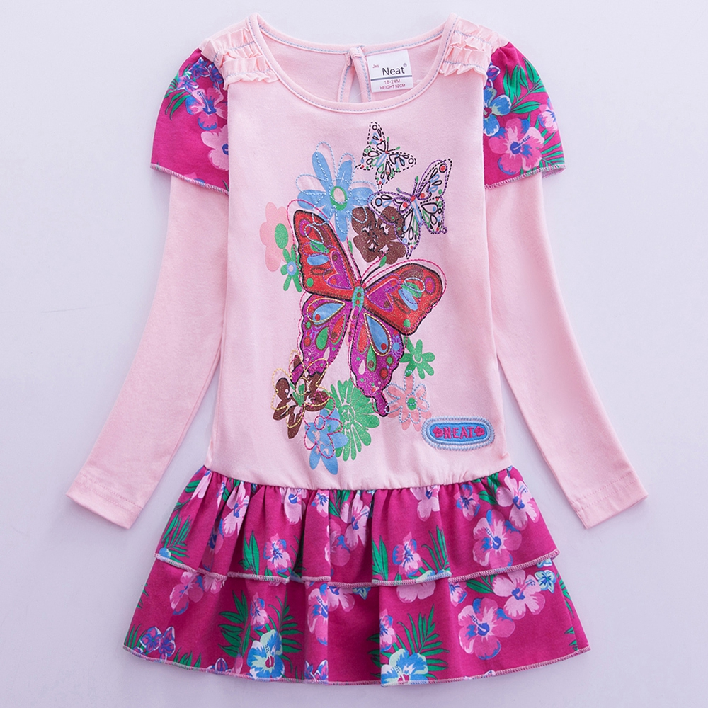 JUXINSU Kids Cotton Girls Long Sleeve Dresses Flower Butterfly Embroidery Casual Dress Clothes for 1 8 Years in Dresses from Mother Kids