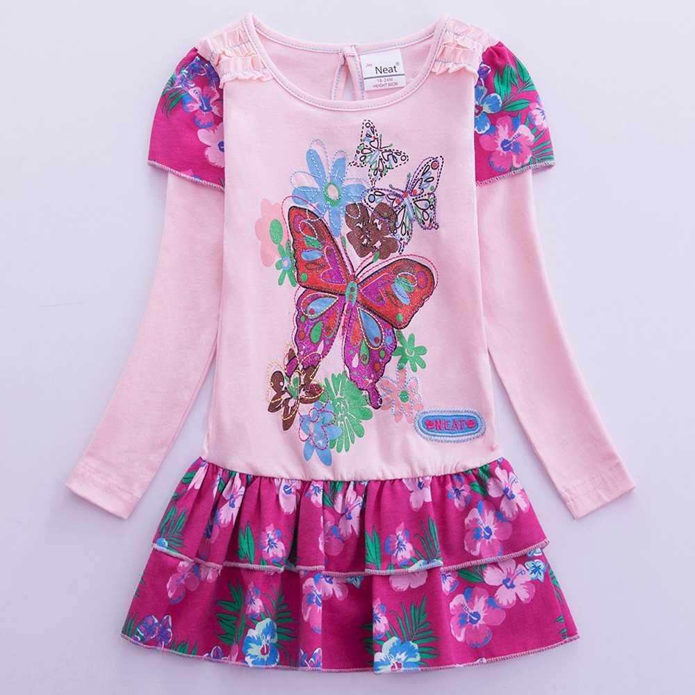 JUXINSU Çocuklar Pamuk Kızlar Uzun Kollu Elbiseler Çiçek Kelebek rahat elbise Giysileri 1-8 Yıl