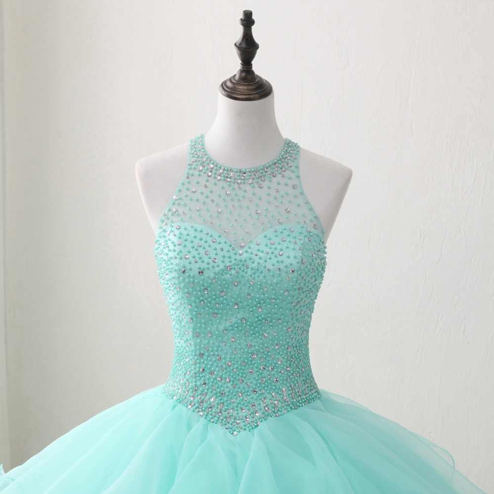 JaneVini элегантный мятный зеленый Quinceanera платья плюс размер Бальное Платье с круглым вырезом из бисера спинки органза до пола Сладкие 16 Платья