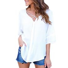 White Shirts Women Chiffon Blouse Sexy Backless Summer Blusas Cross V-neck Loose Flare Sleeve Tops 2017 Casual Solid Blusa LX324 недорго, оригинальная цена