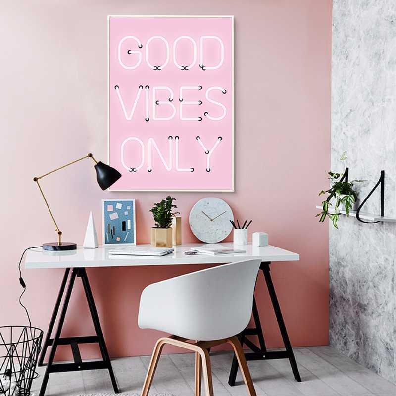 Tốt Vibes Chỉ Quote In Neon Ký Inspirational Poster Màu Hồng Tích Cực Báo Giá Tường Nghệ Thuật Vẽ Tranh Home Phòng Trang Trí Nội Thất