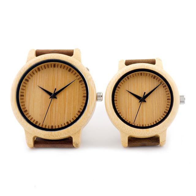 Amante Venda Quente Japonês MIYOTA Movimento do relógio de Pulso de Couro Genuíno Relógios Para Homens E Mulheres De Bambu De Madeira