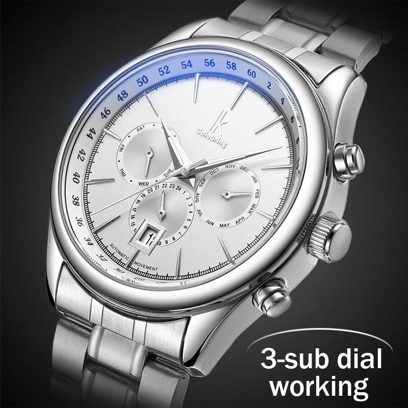 2018 Mens relojes Top marca de lujo hombres reloj mecánico automático de acero de negocios impermeable relojes Relogio Masculino