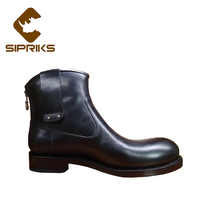 Sipriks luxury mens cowboy boots black leather italian bespoke Goodyear welted western boots round toe zipper boots work shoes