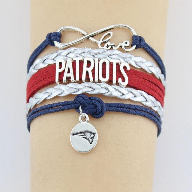 Infinity Love New England Patriots Bracelet Football Team Bow Charm Handmade Leather Braid