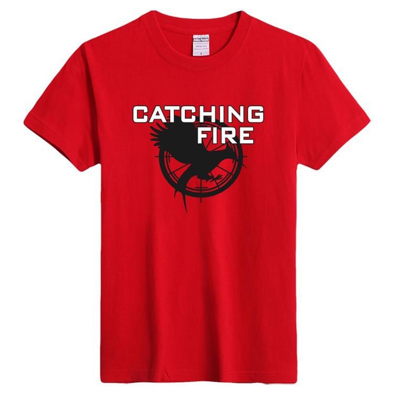 <font><b>Catching</b></font> <font><b>Fire</b></font> Graphics Print T-shirt mens fine cotton shirt short sleeve fashion style O-neck pop boys easy t-shirt fitness tops