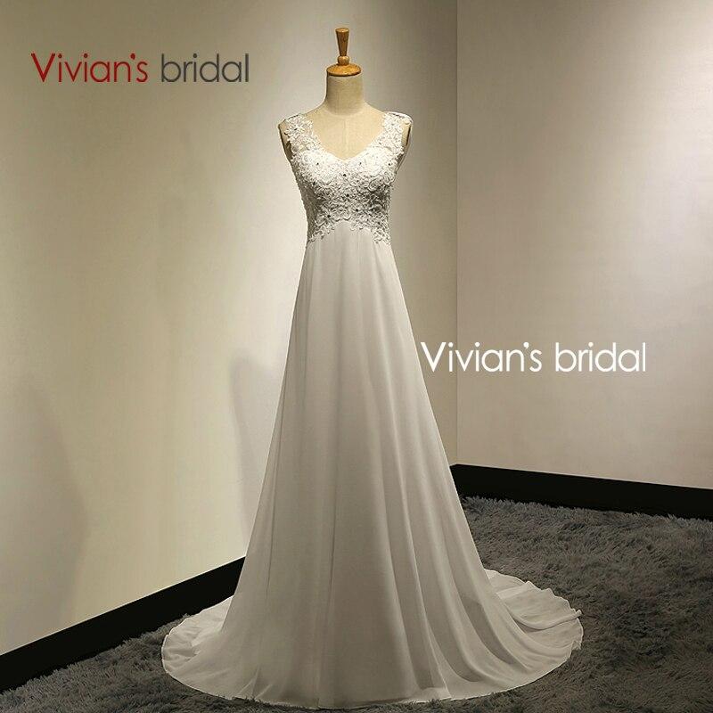 Vivians bridal summer sexy lace appliques chiffon beach wedding dress 2015 boho cheap robe de mariage