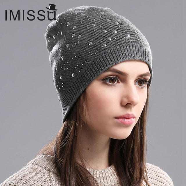 IMISSU Women's Winter Hats Knitted Wool Skullies Casual Beanie Female Fashion Outdoor Ski Caps Thick Warm Hats for Women