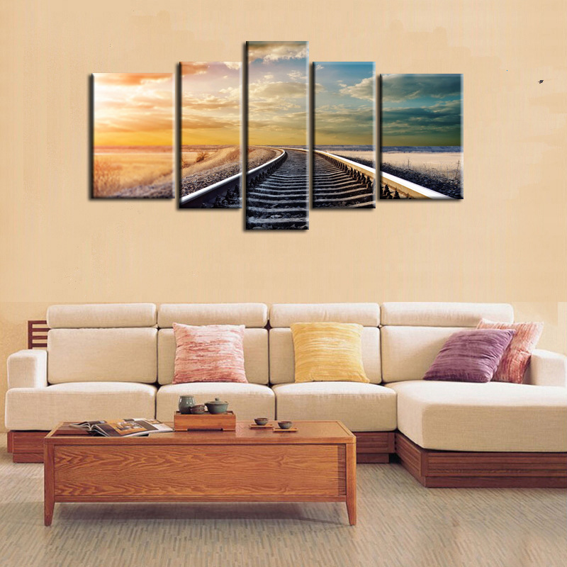 Landscape Canvas Set of 5 Panel Wall Decor Painting Urban Viaduct Night View Art Picture For Living Room Saloon Decoration YH094