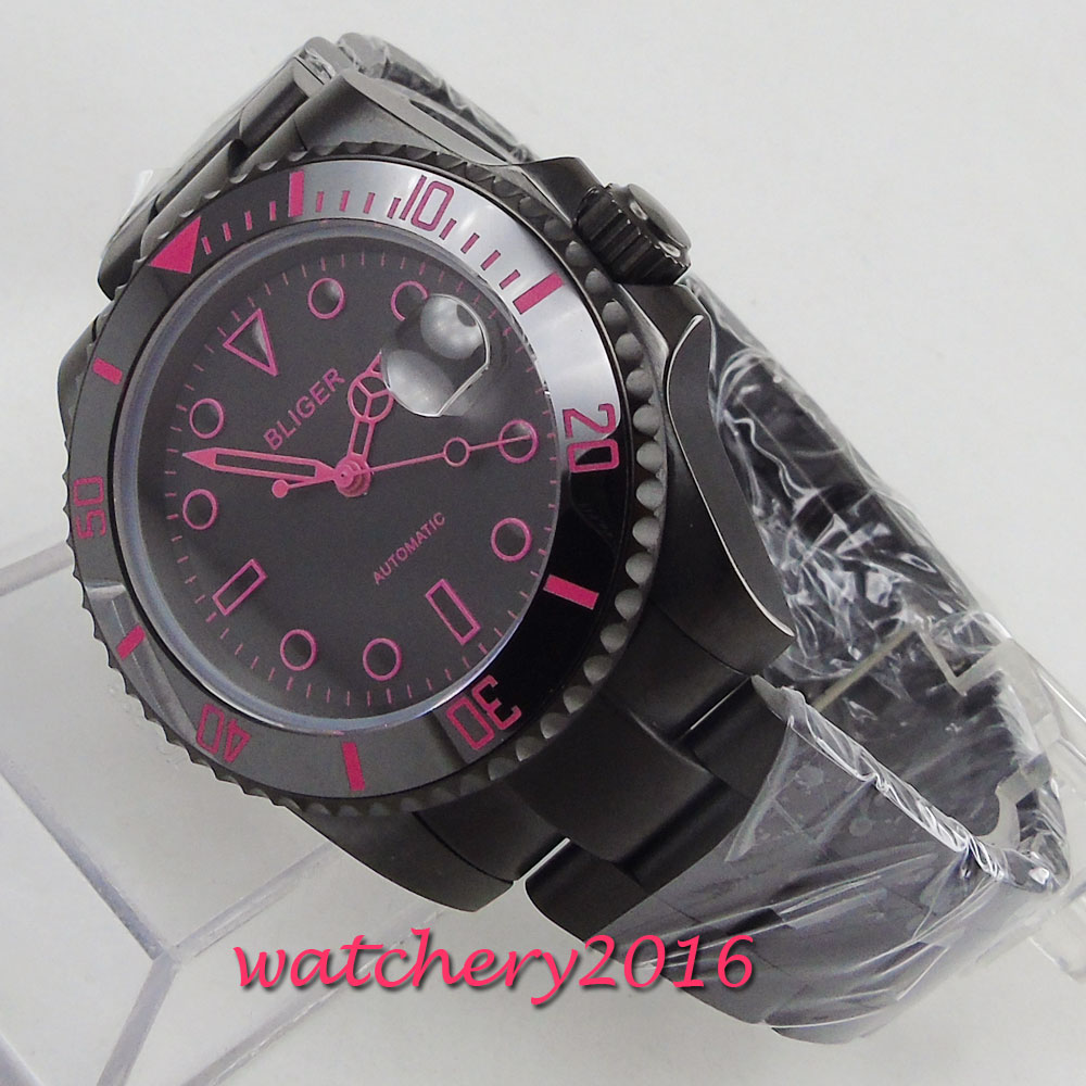 40mm Bliger Black Dial ceramic bezel Sapphire Glass PVD Case Date Automatic movement men's Watch цена и фото