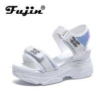 Fujin/босоножки на высоком каблуке; женская летняя обувь 2019 года на толстой подошве; обувь на танкетке с открытым носком; обувь на платформе; об...
