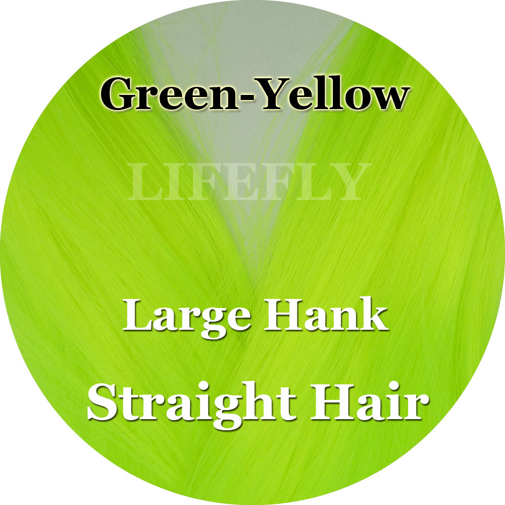 Green Yellow Color, Large Hank of Straight Syn. Hair, Fish Fibre ...
