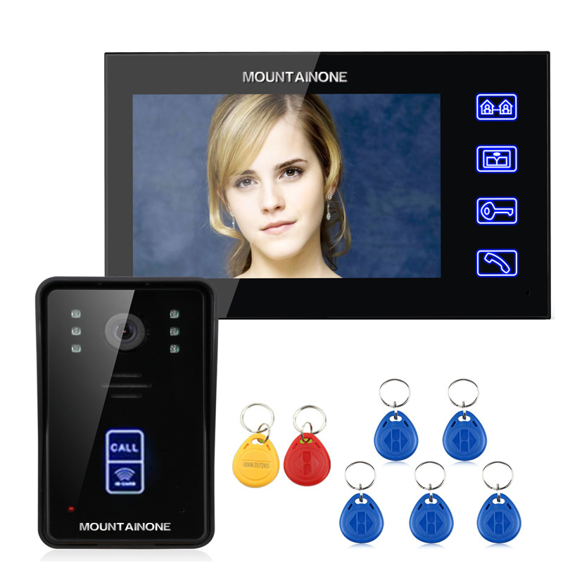 MOUNTAINONE 7 RFID Video Door Phone Intercom Doorbell Touch Button Remote Unlock Night Vision 1000TV Lines