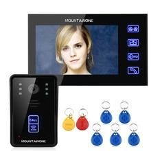"""MOUNTAINONE 7 """"RFID Görüntülü Kapı Telefonu interkom kapı zili Dokunmatik Düğme Uzaktan Kilidini Gece Görüş 1000TV Hatları"""