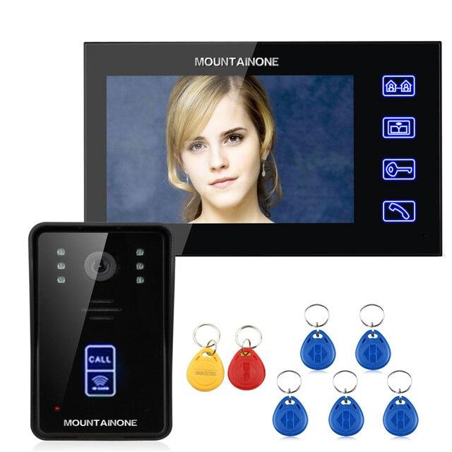 """MOUNTAINONE 7 """"RFID wideo domofon domofon dotykowy przycisk zdalne odblokowanie Night Vision 1000TV linie"""