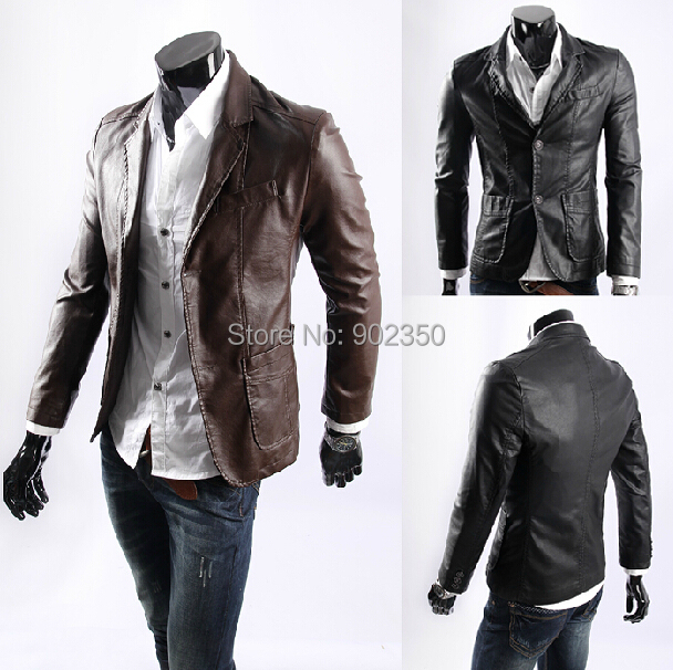 big size free shipping new leather jacket for men casaul slim pu leather jacket waterproof coats black/coffee L-XXXXL
