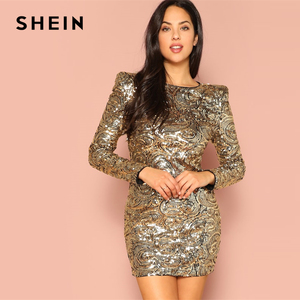 Image 1 - SHEIN Gold Form Fitting Sequin Round Neck Long Sleeve Bodycon Dress Autumn Weekend Casual Going Out Women Solid Elegant Dresses