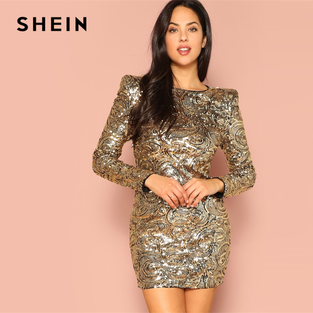 SHEIN Gold Form Fitting Sequin Round Neck Long Sleeve Bodycon Dress Autumn Weekend Casual Going Out Women Solid Elegant Dresses