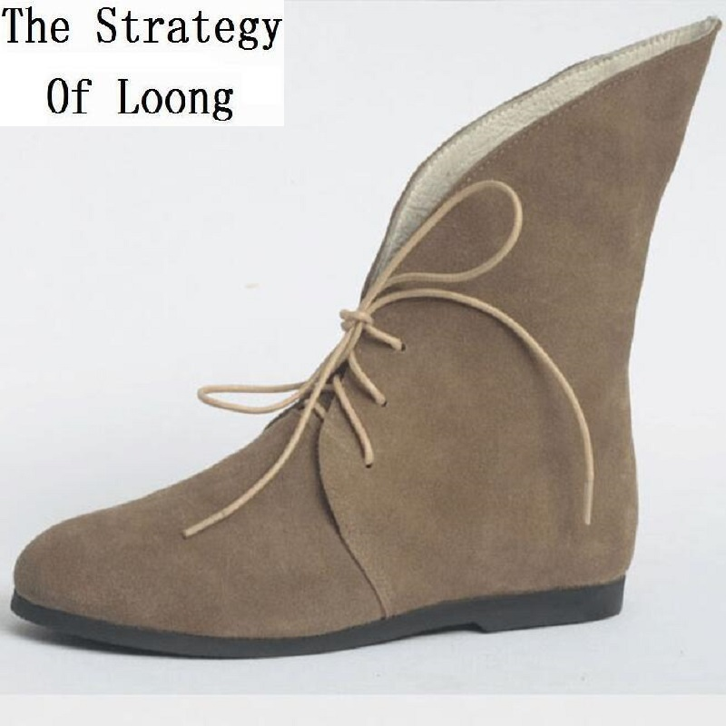 High Top Quality Women Spring Autumn Full Grain Leather Pointed Back High Top Ankle Boots Lady Genuine Leather Short Boots 1806