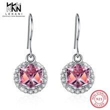 0e2916d66134 Diseño especial de cristal cuadrado cúbico de Swarovski pendientes para  mujeres con forma redonda de diamantes de imitación 925 .