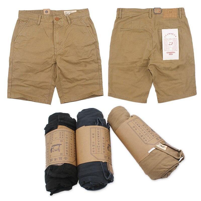 Classic Twill Chino Mens Cargo Shorts Washed Vintage Short Pants Men Casual Knee Length Shorts Khaki Bottom Slim Thick W29 W36