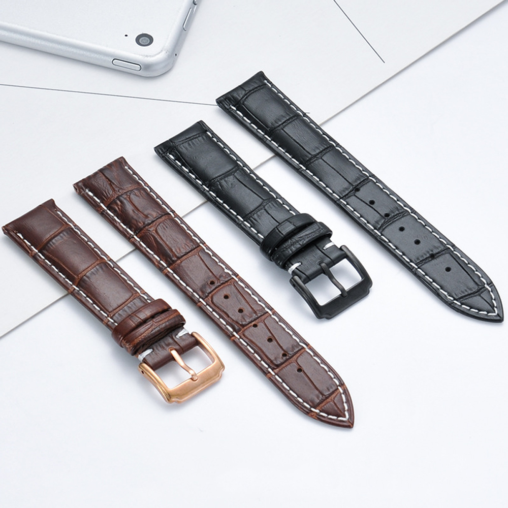 Watchband Black General Leather Strap 16mm 18mm 19mm 20mm 21mm 22mm Watch Band Bracelet Metal Pin Buckle wristband nylon watchband 20mm 22mm watch strap stitched wristwatches band bottom is genuine leather bracelet pin buckle accessories