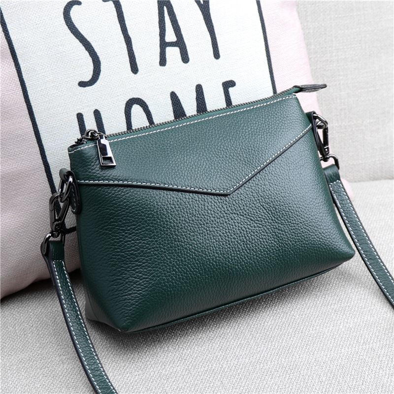 3 Zipper Leather Messenger Bag, Women Genuine Leather Shoulder Bag, Casual 100% Natural Cow Skin Cross-body Shoulder Bag A381 niyobo genuine leather women shoulder bag 100