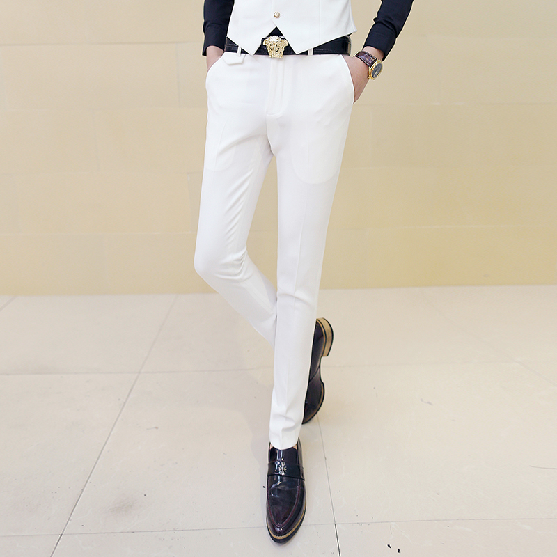 Men White Dress Pants Male Skinny Slim Fit Trousers White Men Suit Pants Trousers Male Classic Desinger Brand Red Black 10 Color
