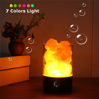 Smuxi Pink Salt Rock Himalayan Glow Multi Color RGB LED Table Night Light With Touch Dimmer
