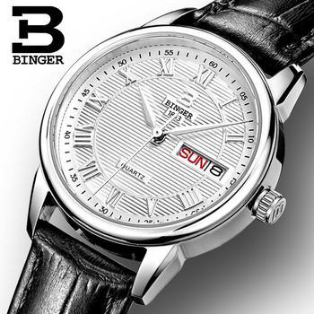 Швейцарские часы Binger, женские модные роскошные часы, ультратонкие кварцевые наручные часы с автоматическим датой и кожаным ремешком