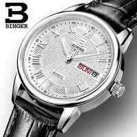 Schweiz Binger uhren frauen mode luxus uhr ultradünne quarz Auto Datum lederband Armbanduhren B3037G-1
