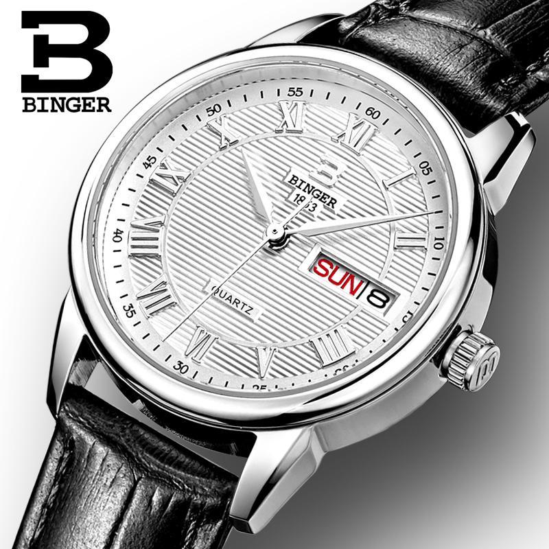 Suisse Binger montres femmes mode montre de luxe ultra-mince quartz Auto Date bracelet en cuir montres B3037G-1