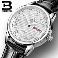 Switzerland Binger watches women fashion luxury watch ultrathin quartz Auto Date leather strap Wristwatches B3037G 1