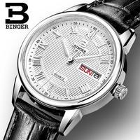 Switzerland Binger Watches Women Fashion Luxury Watch Ultrathin Quartz Auto Date Leather Strap Wristwatches B3037G 1