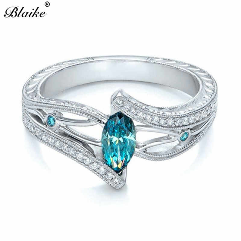 Anillos de circonita de cristal azul/Aqua de moda Blaike para mujer anillo de compromiso con forma de marquesina Vintage