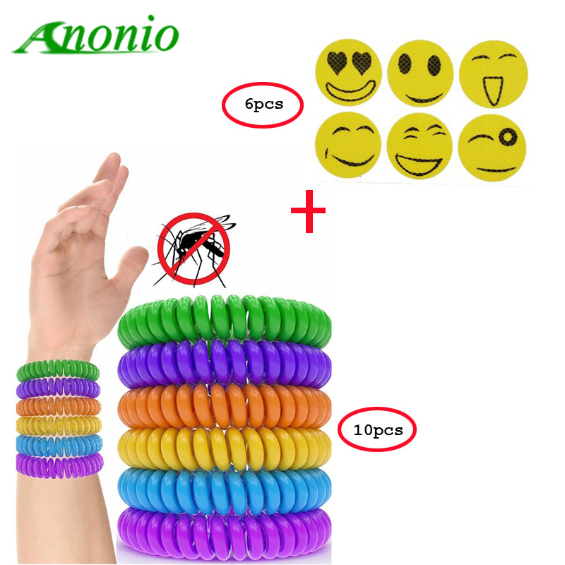10pcs Mosquito Repellent Bracelets With 6Pcs Smiley Anti Mosquito Stickers Mosquito Killer Outdoor Insect Bracelet Wrist Band 0B