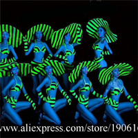 Fluorescent Green Sexy Lady Party Evening Bikini Suit Hat Stage Performance Models Costumes Masquerade Cosplay DS Clothes